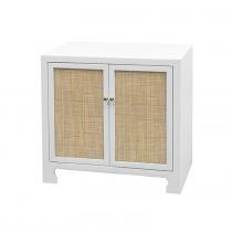 Alden White Lacquer Cane Cabinet