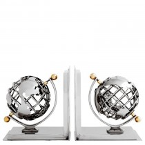 Globe Nickel & Brass Bookend Set of 2