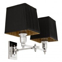 Lexington Nickel Double Wall Lamp with Black Shade